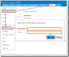 Set HockeyApp Service in VSTS