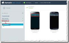 Xamarin Test Cloud Result Screenshots
