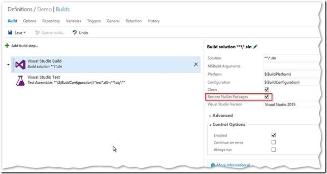 Restore NuGet packages in Visual Studio Build task