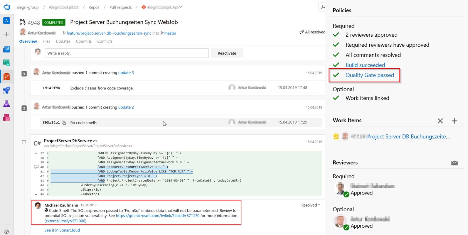 Use pull request decoration in Azure DevOps with SonarCloud