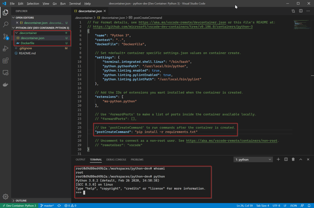 Show VS Code connected to the container with config files.